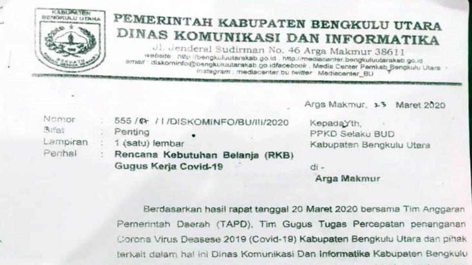 RKB BTT Covid-19 Diskominfo BU Dinilai Jebak Bupati